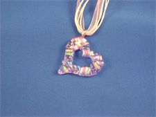 Dichroic Glass Pink Cut Out Heart Necklace